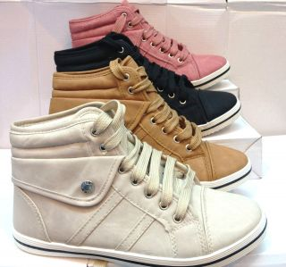 WOMENS LADIES FLAT LACE UP SPORTS HIGH HI TOP PUMPS TRAINERS SHOES