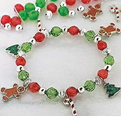 Christmas Holiday Bracelet Craft Kit   Gingerbread   Beaded Jewelry