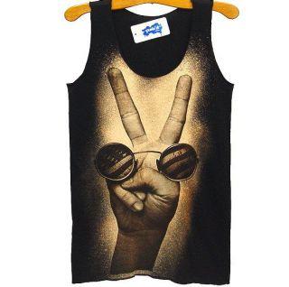 BEATLES John Lennon US PEACE Vintage Punk Rock Tank Top T Shirt S/M