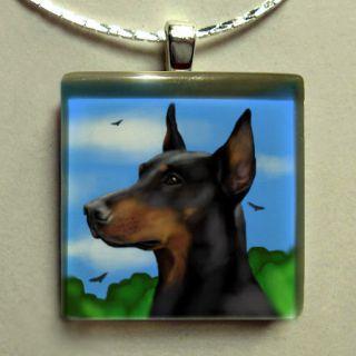 doberman pinscher dog art glass tile pendant free chain time