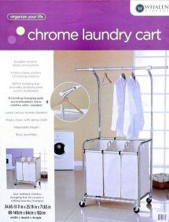 Whalen Laundry Cart Chrome 3 Clothes Compartments + Hanging Pole