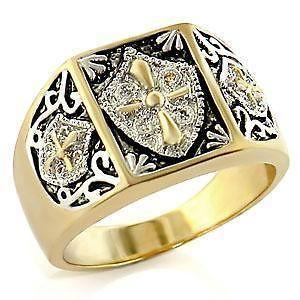 14K Gold/Rhodium Plated Knights Templar Cross & Shield Mens Ring Size