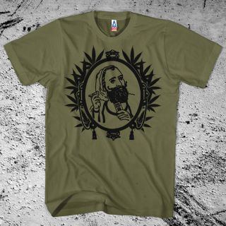 Man Olive Shirt Marijuana Bud Weed Leaves ZigZags All Sizes Available