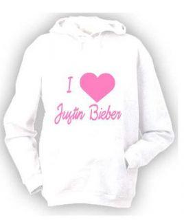 Personalised I love/heart Justin Bieber, JB hoody