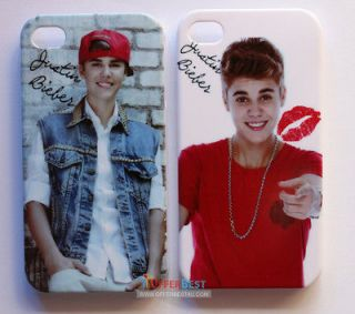 2PCS Justin Bieber Stylish Case cover For iphone 4 4S KISS JUSTIN