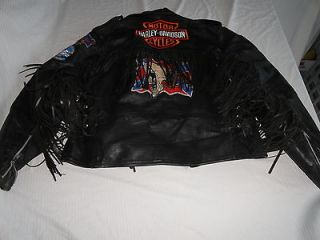 Vtg. MENS HARLEY DAVIDSON MOTOR CYCLES LEATHER FRINGE BLACK JACKET M