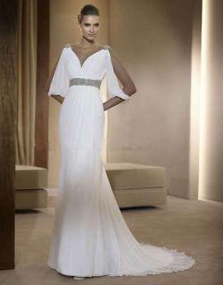 Elegant White Long sleeve Beaded Chiffon Wedding dress Formal gown