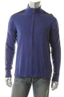 Kenneth Cole Reaction NEW Rib It In Blue Contrast Rib Trim Cardigan