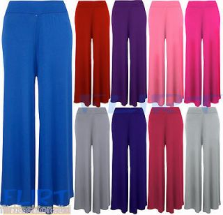 Womens Palazzo Flared Pants Ladies Wide Leg Stretch Jersey Trousers 8