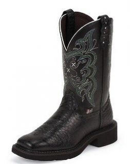 NEW #L9993 JUSTIN LADIES BLACK PEARL PRINT COWHIDE GYPSY BOOTS