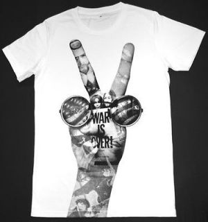 John Lennon Beatles T Shirt 42 L War is Over PEACE Rock Retro White