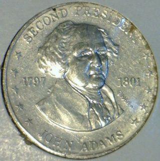 John Adams Mr. Presedent Shell Commemorative Medal   Token   Coin