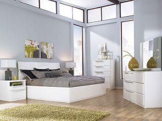 ALEX MODERN 5pcs GLOSSY WHITE QUEEN KING PLATFORM STORAGE BEDROOM SET