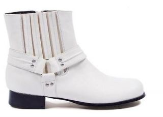 White Cowboy Motorcycle Gang Boots Rodeo 70s Pimp Mens Costume Shoes