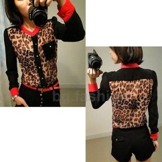 Womens Stand Up Collar Leopard Print Chiffon Tops Long Sleeve Button