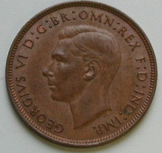 UK (Great Britain) 1940 PENNY King George VI Large Copper Coin with