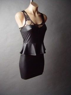 Newly listed Black Faux Leather Peplum Sweetheart Lace 40s Noir Vamp
