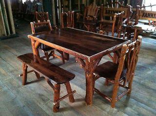 Sassafras Walnut Rustic Log Kitchen Table 4 Chairs Amish