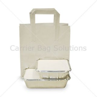 10 white party take away paper carrier bags small time