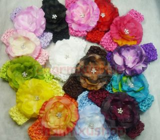LOTS wholesale Flower Jewel Centered Head Girl Kids Baby hair Clip Bow