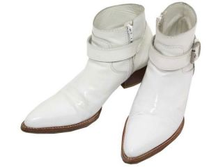 junya watanabe comme des garcons white leather boots