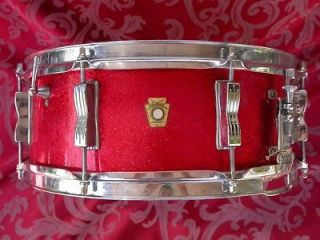 ORIGINAL 1963 LUDWIG RED SPARKLE JAZZ FESTIVAL SNARE DRUM LOT #L56