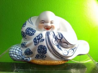 New Happy Buddha White Hand Painted Porcelain Lamp Chinese/Japan