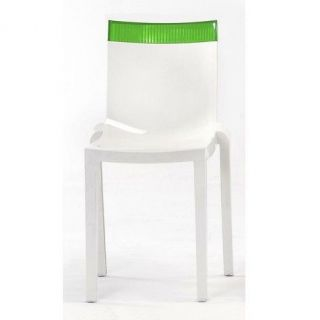 Kartell Hi Cut Dining Chair by Philippe Starck Glossy White Green Top