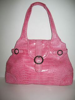 KATHY VAN ZEELAND BELTED PINK PATENT CROC & SILVER ACCENTS STYLE TOTE