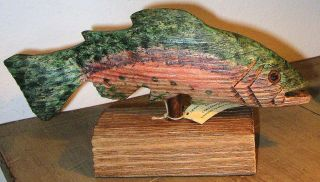 .~Hand Carved & Hand Painted LANCE LONG WOOD RAINBOW TROUT~FOLK ART