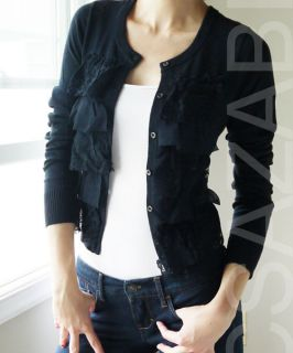 NWT HOLLISTER HCO WMN Navy Floral Lace Ruffle CARDIGAN SWEATER NEW S