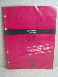 New Sealed John Deere 280 Rotary Snow Plow Operators Manual OM