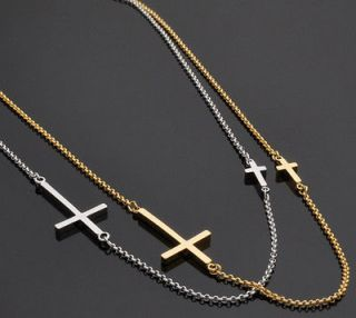 New Large Cross Sideways Gold Tone Crystal Pendant Necklace,Gift Boxed