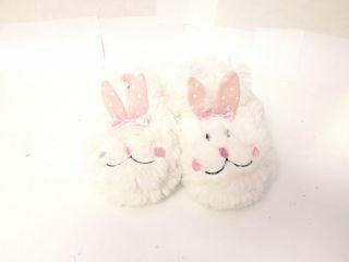 NWT Plush Bunny Rabbit WHITE Slip On Girls Toddler Slippers Shoes 5/6