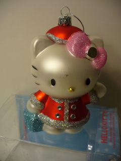 Hello Kitty Pink Bow Santa Outfit Glass Ornament Christmas New