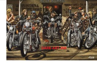 David Mann Art Blue Burro Print Easyriders Harley Davidson Bar Saloon