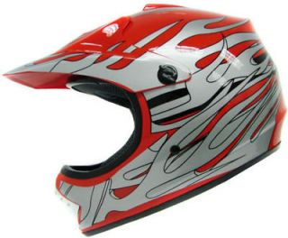 SILVER FLAME DIRT BIKE ATV MOTOCROSS MOTORCORSS OFF ROAD HELMET MX ~L