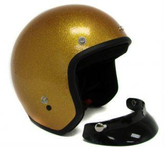 Metalflake Gold Motorcycle Open Face Helmet Cafe Racer Vintage Cruiser