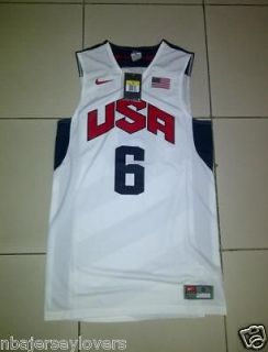 Olympics London 2012 Jersey, Print Screened, Lebron James, White. BNWT