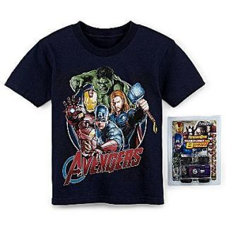 IRON MAN CAPTAIN AMERICA HULK THOR T Shirt Boys Tee & Toy Set NEW $22