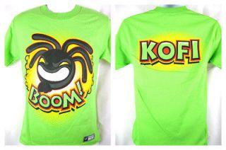 Kofi Kingston Boom Squad Lime Green WWE Authentic T shirt New