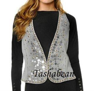 dg2 stretch denim studded vest $ 59 90 gray