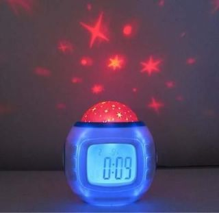 sky star night light projector lamp bedroom alarm clock w