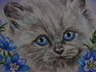 himalayan cat kitten animal print of painting