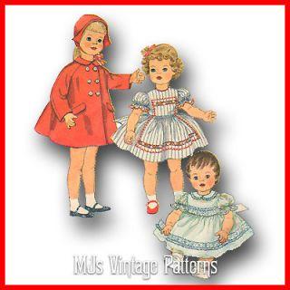 Vtg Pattern Life Size Doll Clothes Dress Coat Hat ~ 28 Patti Patty