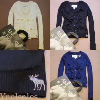 NWT Abercrombie A&F Womens Ruffle Lace Sweater Cardigan Top Jumper by