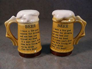 VINTAGE SET OF CERAMIC BEER MUG SALT&PEPPER SHAKERS MADE IN JAPAN EUC