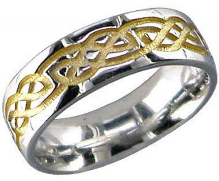 newly listed 14k white gold silver celtic band ring irish