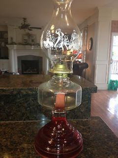 vintage oil lamp eagle art glass hurricane lamps time left