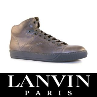 Lanvin men high sneakers shoes in Taupe Calf leather Size US 7   EU 40